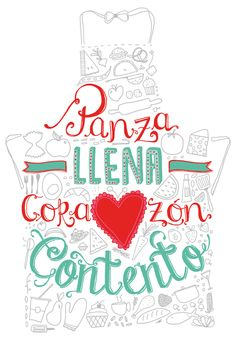Panza llena corazón contento Foto Transfer, Food Quotes, Spanish Quotes, Coffee Shop, Decoupage, Inspirational Quotes, Lettering, Thoughts, Words