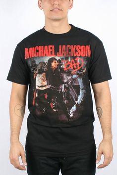 "Michael Jackson - Mens ""Bad"" Photo T-Shirt In Black"