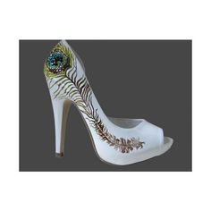 Glamfoxxcouture Crystal Peacock Feather Heels found on Polyvore
