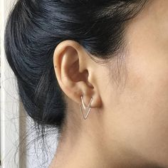 Double Piercing Two Hole Earring Double Chevron Earrings V