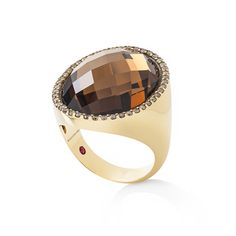 Ring in yellow gold with diamonds, doubled of smoky quartz and gold. Roberto Coin, Smoky Quartz, Cocktail Rings, Diy Fashion, Headbands, Man Ring, Rings For Men, Experimental, Wedding Rings