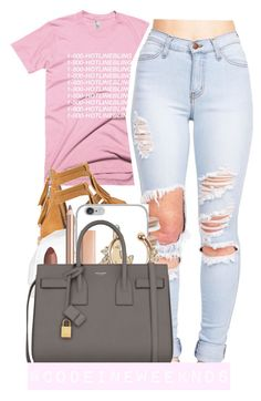 """""""9:20:15//I don't like pink but this shirt was just too cute to not use """" by codeineweeknds ❤ liked on Polyvore featuring MANGO, October's Very Own and Yves Saint Laurent"""