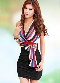 Tight Colorful Stripes and Black Patchwork Sleeveless Dress on sale only US$10.30 now, buy cheap Tight Colorful Stripes and Black Patchwork Sleeveless Dress at martofchina.com
