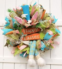Easter Bunny Wreath, Easter Wreath, Easter Bunny Ears and Legs Wreath, Bunny Ears Wreath, Bunny Legs Wreath