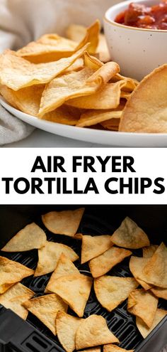 Healthy snacking has never tasted better than with these quick and easy air fryer tortilla chips! They're crispy and crunchy without any deep-fried grease, and can be made four ways: classic corn, whole wheat flour, grain-free, or sweet cinnamon sugar! Flour Tortilla Chips, Homemade Tortilla Chips, Healthy Tortilla Chips, Gluten Free Tortilla Chips, Healthy Appetizers, Healthy Snacks, Appetizer Recipes, Snack Recipes, Dessert Recipes