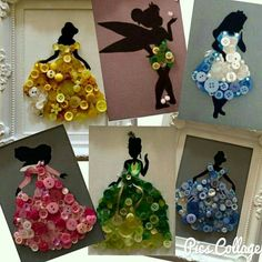 Disney silhouettes + buttons (and a little paint/accents) = AMAZING! Such a gre… Disney silhouettes + buttons (and a little paint/accents) = AMAZING! Such a great idea for a birthday party, sleepover, or just a rainy day! Camping Crafts, Fun Crafts, Diy And Crafts, Arts And Crafts, Button Crafts For Kids, Disney Crafts For Kids, Disney Button Art, Disney Buttons, Disney Girls Room