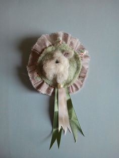 Needle Felted White Terrier Corsage, Rosette, Brooch