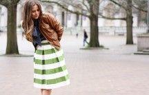 Corilynn | small world. big style. Green striped skirt