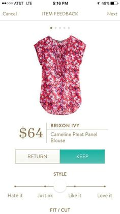 This top is really cute. It would go great with my new skinny pink jeans I got from my last fix.
