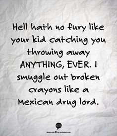 Haha! I can relate! My son freaks if I throw away socks with a hole in them. He got it from his dad!