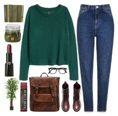 """next semester"" by sweet-jolly-looks ❤ liked on Polyvore featuring Topshop, H&M, Burt's Bees, Borghese, Nearly Natural, Giorgio Armani, casual, earthtones and winter2017"