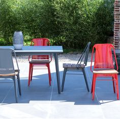 Chaise outdoor en métal et teck Toscane anthracite