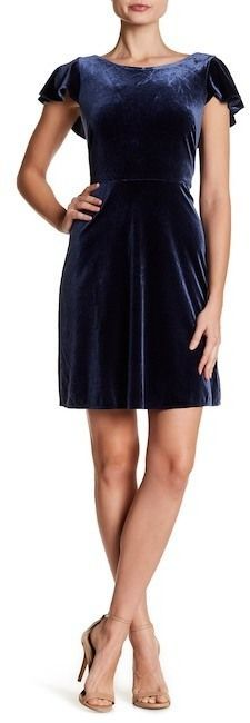 London Times Velour Flutter Sleeve Dress