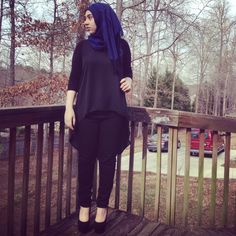 "street-hijab-fashion: ""Meriem Moufid. You can never go wrong with black on black. """
