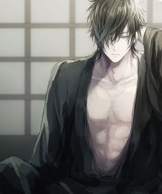 Anime boy~~ almost shirtless *.,*