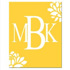 Floral Monogram  Letter Customized Initials  11x14 by Tessyla, $25.00
