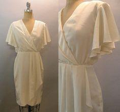 Vintage Short Wedding Dress Off White Cream Dress by JupeDuJour, $48.00