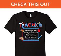 Mens BeeTee: Teacher Reconsiders Children's Names - Funny T-Shirt Large Black - Careers professions shirts (*Amazon Partner-Link)