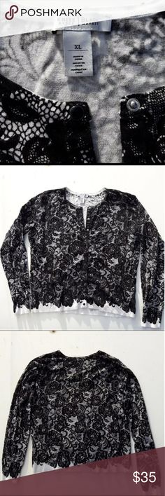 White House Black Market XL Women's Cardigan Lace Size XL  Like New Black and white printed lace pattern  Message me any questions on this item or my other listing anytime!(: White House Black Market Sweaters Cardigans