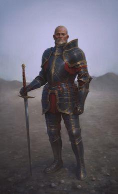 """Male knight with scarred face, full plate, grey hair. Ghorak """"Spadabianca"""", prima ricercato avventuriero ora rinomato uomo di fede. Ha viaggiato per gran parte dell'Isola insieme ai suoi due compagni, Galbedir e Wyliath. Negli ultimi mesi ha intrapreso un lungo pellegrinaggio e ha prestato il voto del silenzio: si dice che abbia commesso un grave delitto da espiare. Si fa spesso accompagnare dal suo giovane allievo, Harron."""