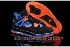 best service 694d7 dfcf2 Hot Nike Air Jordan 4 Kids Black Blue Orange Discount