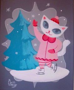 EL GATO GOMEZ PAINTING RETRO KITSCHY WHITE CAT KITTEN WINTER ICE SKATING HOLIDAY in Art, Art from Dealers & Resellers, Paintings | eBay