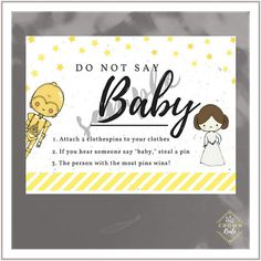 Baby Shower Game, Donu0027t Say Baby, Clothes Pins, Welcome Baby,