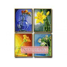 Раскраска по номерам Schipper Цветы 4 шт.. Купить за 2379 р. в магазине Разукрашка.