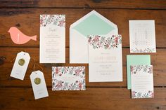 Whimsical wedding suite with illustrated flowers by Fourteen-Forty #vintagewedding