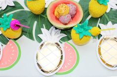 Summer party ideas such as Gold pineapple plates, watermelon napkins and pineapple cups!  Must Have Summer Party Supplies and Ideas on the Via Blossom Blog!  Everything you'll need to throw an amazing Summer Party or Tropical Party, or Flamingo Party or Tutti Frutti Party!  Don't Miss out!