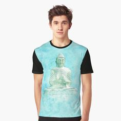 'Zen Buddha Meditation Statue in turquoise background' Graphic T-Shirt by Annie Nader Buddha Zen, Buddha Meditation, Turquoise Background, Background S, Vivid Colors, Female Models, Annie, Bubble, How To Make