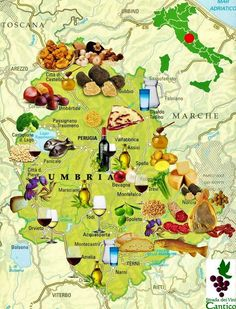 Strada del Vini, map of Umbria ~ Umbria is a region where the food, wine, art, culture and architecture are the equal of any in Italy. Norcia, with its truffles, hams and cheeses, for example, is a gastronomic centre par excellence.