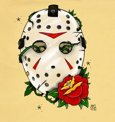 Jason (Friday The 13th) Tattoo Flash by Phil Wall Art.