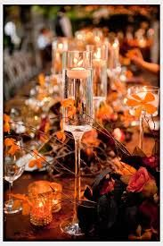 Decorations Fall Wedding Reception Table And Every Other Flower Pot 2 Differnt Sized Wine Gles With Deco Inside