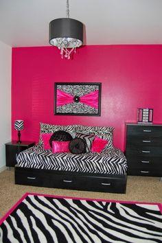 dormitorio rosa y negro
