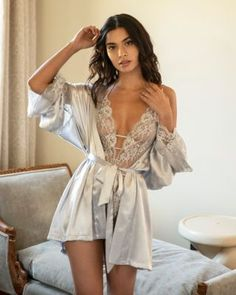 In Bloom by Jonquil Satin Wrap Robe Women - Bloomingdale's Boudior Outfits, Lingerie Outfits, Lingerie Dress, Bridal Lingerie, Lingerie Set, Sexy Outfits, Fashion Outfits, Honeymoon Lingerie, Bridal Intimates