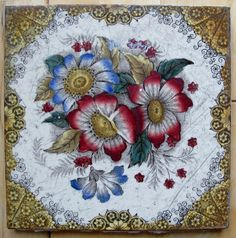 Antique Victorian Art Nouveau Ceramic Tile