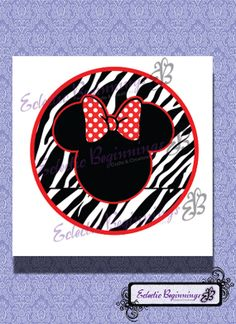 Disney Digital File, DIY Print Iron On-Minnie Mouse Zebra Red Bow Circle INSTANT DOWNLOAD