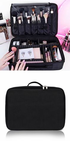 Portable Mini Travel Oxford Soft Makeup Bag with Removable Tray Dividers in Black --Joligarce makeup bag with brush compartment / cosmetic bag with brush holder / pro makeup bag cosmetic bag with compartments/ professional makeup bag / large makeup bag with compartments/ mini makeup bag / huge makeup bag / square makeup bag/ vanity ideas