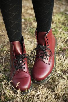 Cherry Doc Martens boots with the classic laces - dream boots Doc Martens Boots, Dr. Martens, Red Doc Martens, Cute Shoes, Me Too Shoes, Rocker, Moda Casual, Shoe Boots, Shoe Bag