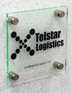 Office Signs | Green-Edged Acrylic with Stainless Steel Standoffs