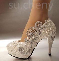 """3 """" / 4"""" blanco marfil luz Encaje Cristal Boda Zapatos Bridal Tacones Pumps Tamaño 5-11"""