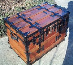 350 Fully Restored Antique Flat Top Steamer Trunk w New Leather Buckled Tie Downs n Handles, Black Japanned Hardware and Brass Nail Heads