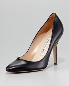 Want now please - love Manolo's!!!    Tuccio Sam Leather Pointed-Toe Pump, Black by Manolo Blahnik at Neiman Marcus.