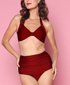 9692e565a6a43 Esther Williams Burgundy Bikini Top   Bottoms