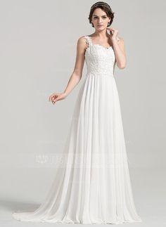 [US$ 169.49] Corte A/Princesa Novio Barrer/Cepillo tren Chifón Encaje Vestido de novia