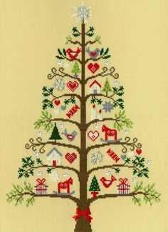 Bothy Threads Scandi Tree Cross Stitch Kit - x Discover more kits by Bothy Threads at LoveCrafts. From knitting & crochet yarn and patterns to embroidery & cross stitch supplies! Xmas Cross Stitch, Beaded Cross Stitch, Counted Cross Stitch Patterns, Cross Stitch Charts, Cross Stitch Designs, Cross Stitching, Cross Stitch Embroidery, Embroidery Kits, Scandi Christmas