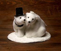 Polar Bear Winter Wedding Cake Topper by ForMomentsinTime on Etsy