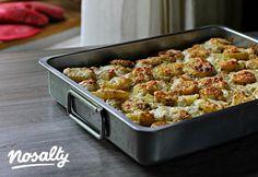 Tepsis húsos burgonya | Nosalty Paella, My Recipes, Guacamole, Potato Salad, Cauliflower, Macaroni And Cheese, Bacon, Pork, Food And Drink