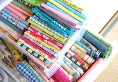 fabric storage by @Ayumi of #pinkpenguin